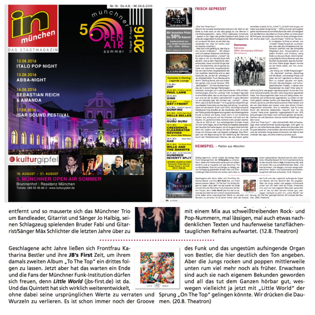 """InMünchen - CD-Kritik """"Heimspiel"""" von LITTLE WORLD (04.08.16)"""